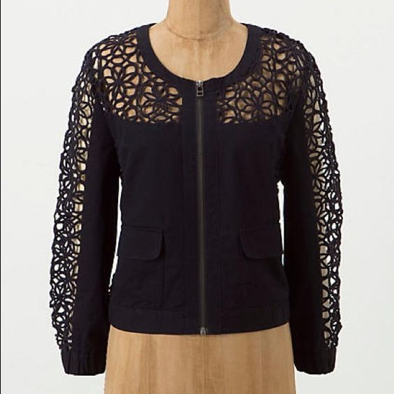 RARE Anthropologie Soutache Lace Bomber By elevenses. Navy cotton bombed jacket with elasticized cuffs and gorgeous open lace work on yoke and sleeves. Serious stunner! Size 0 runs big - could fit up to a 4. Anthropologie Jackets & Coats