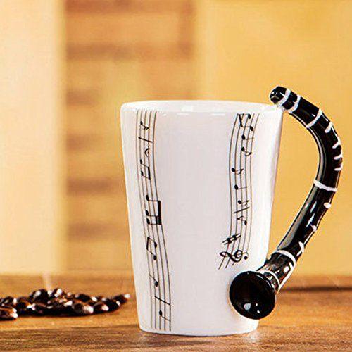 Musik Mug Tasse Keramik Henkelbecher Henkel-Becher mit Klarinette Handgriff