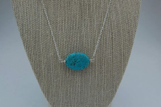 Turquoise Bead Sterling Silver Necklace by kellidesignsonline, $23.00