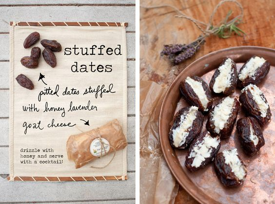 Stuffed Dates with honey and lavender goat cheese