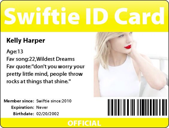 My Swiftie ID card
