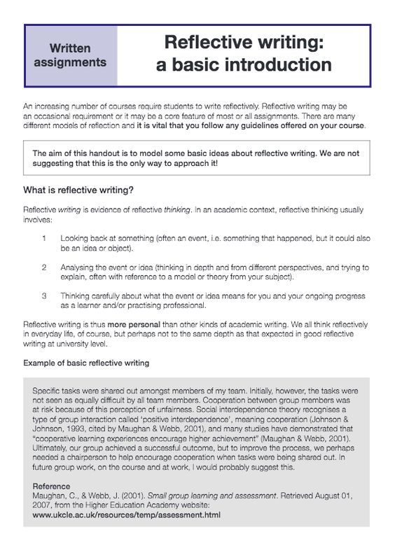 Reflective Writing Academic Essay Example Self Reflection Introduction