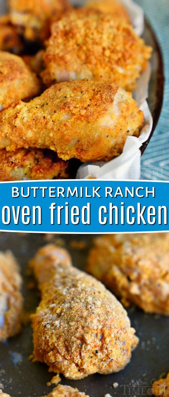 This Buttermilk Ranch Oven-Fried Chicken is bound to become a new family favorite! This recipe is perfect for a quick and easy dinner any night of the week! The chicken comes out so juicy and moist on the inside and crunchy on the outside - just the way we like it! // Mom On Timeout #ovenfriedchicken #friedchicken #chickenrecipe #chickenrecipes #dinnertime #dinnerideas #chicken #recipes #dinner
