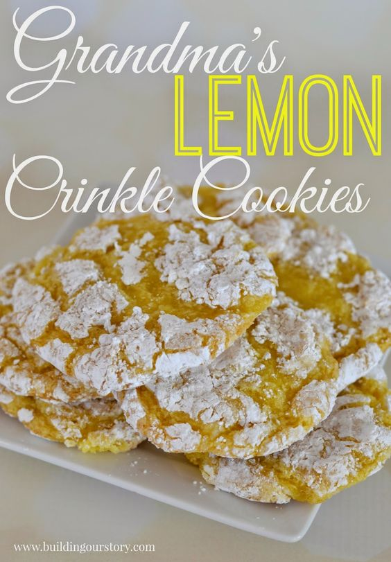 Grandma's Lemon Crinkle Cookies. Lemon cookie recipe. Lemon Cool Whip Cookies. Cool Whip cookie recipes. easy crinkle cookies. lemon crinkle cookies.:
