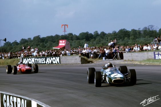 Brabham sur Brabham BT24 -Amon Farrari 312 1967 England