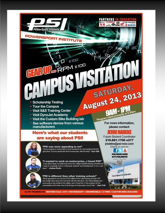 PowerSport Institute Campus Visitation Event Saturday August 24, 2013…..Come on down and check us out! http://buff.ly/1bHVICk