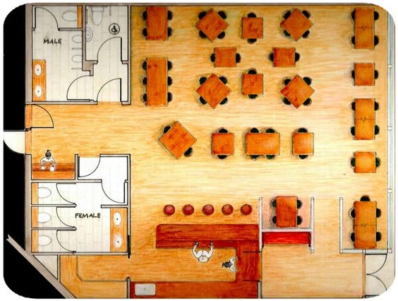 Restaurant Layout Sketch Floor Plan Spaces