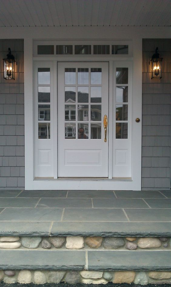 Transome And Sidelites With Wood 3 4 French Front Door Painted White Bluestone And River Rock