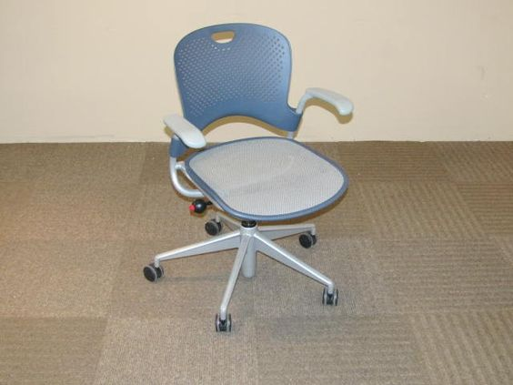 herman miller caper task chair with plastic back and mesh seat blue blue task chair office task chairs