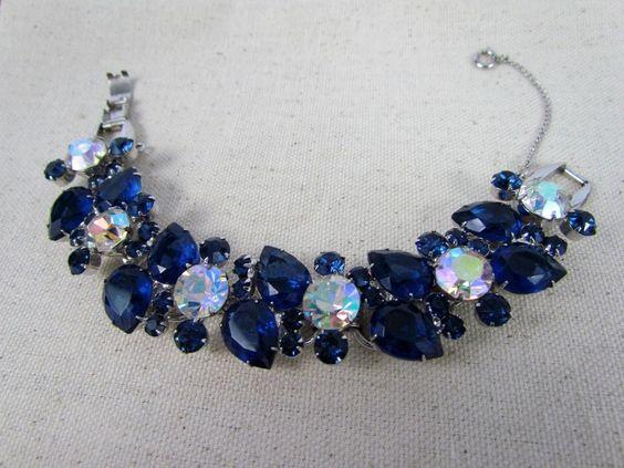 Vintage D&E DeLizza & Elster Juliana Sapphire Blue & AB Rhinestone…