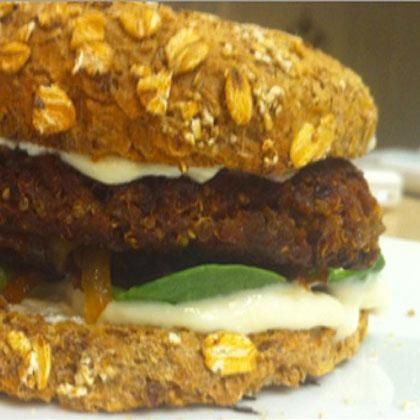 Quinoa Black Bean Burgers  As long as you use no-salt added black beans or soak your own, the sodium should be low.      Makes 5, per: 235 cal, 5g fat, 11g fiber, 10g protein