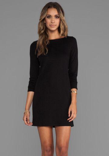 LANSTON V Back Sheath Dress  Long Sleeve Black Dress  Style ...