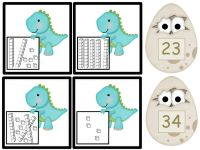 Here's a dinosaur-themed place value matching game.