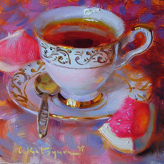 Monday Tea by Elena Katsyura Oil ~ 6 x 6: