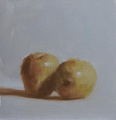Neil Carroll Original Oil Painting Still Life Yellow Apples