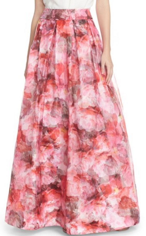 Floral Organza Ball Gown Skirt with Pockets