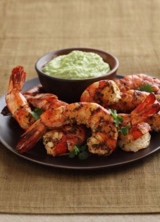 Grilled cilantro-lime shrimp with spicy avocado puree