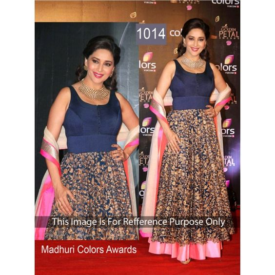 Bollywood Replica - Madhuri Dixit Beautiful In Long Navy blue Gown - 1014 (CM-Vol-1)