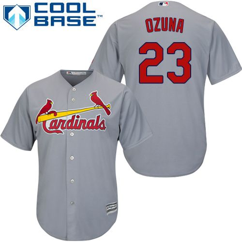 Cardinals #23 Marcell Ozuna Grey Cool Base Stitched Youth MLB ...