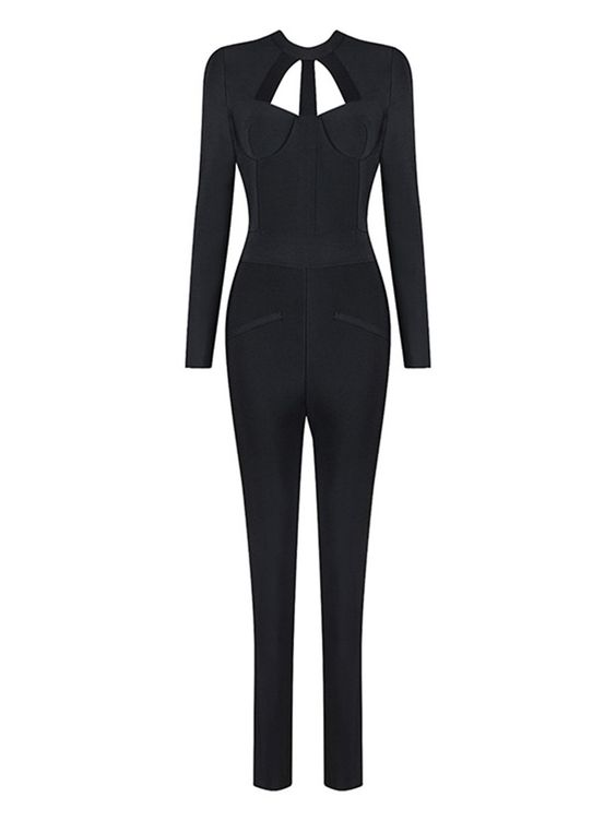 Shop Jumpsuits - Black Solid Cutout Sexy Jumpsuit online. Discover unique designers fashion at StyleWe.com.: