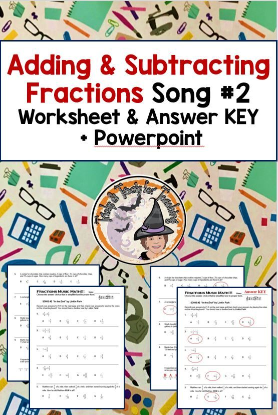 Adding And Subtracting Fractions Word Problems Worksheet Music Math Activity Fraction Word Problems Adding And Subtracting Fractions Word Problem Worksheets