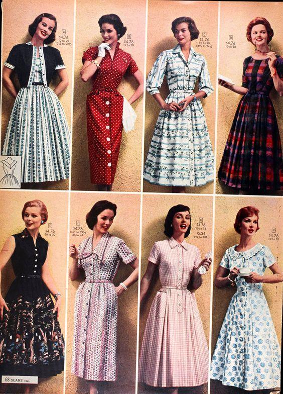 В 1958 Пролет / Лято Сиърс Каталог края на 50-те години ера ден рокля офис училище съвпадение пуловер пълен пола молив червен бял розов черно каре флорални модели списание печатна реклама: