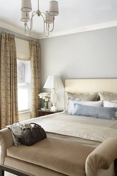 Soft, serene and earthy colours make a beautiful marriage here!  Loving the Gray-Blue walls and the lighter gray ceiling.