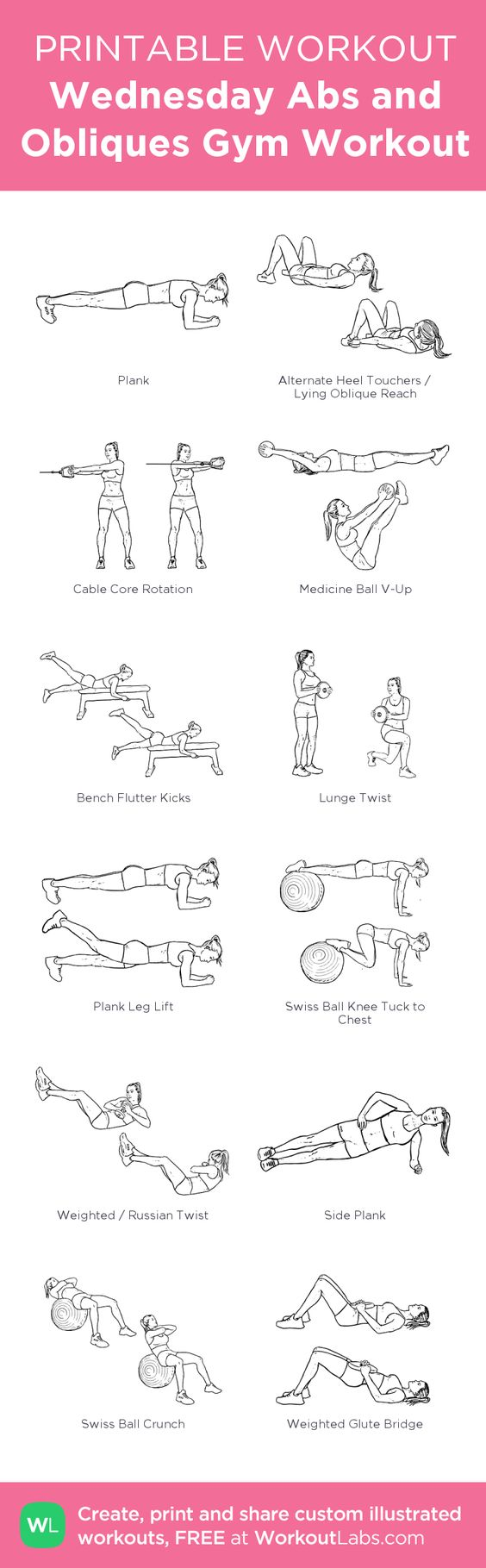 Wednesday Abs and Obliques Gym Workout:my visual workout created at WorkoutLabs.com • Click through to customize and download as a FREE PDF! #customworkout