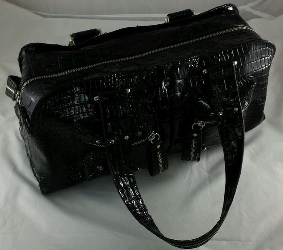 Large Shiny Black Faux Crocodile Pattern Vinyl Jessica Simpson Hand Bag Purse #JessicaSimpson #Satchel