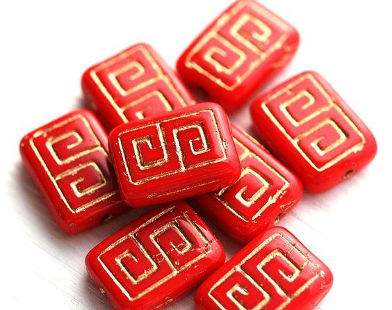 Rectangle Czech Beads, Greek Key, Red and Gold (8) - MayaHoneyBead