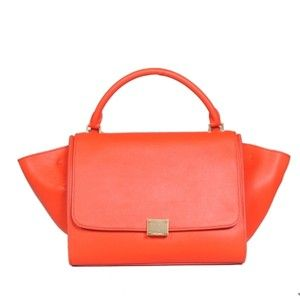celine orange leather handbag trapeze