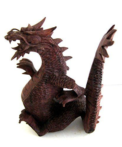 Dragon-Statue-Fiery-Dragon-Wood-Carved-Figurine-Dragon-Decor-Fantasy-X-LARGE-Collectors-Item-OMA-BRAND-0