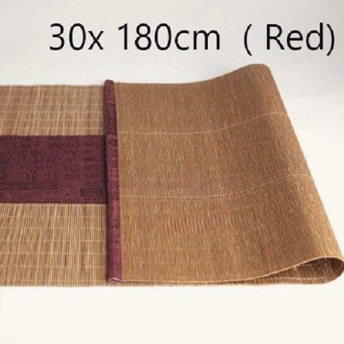 Bamboo Table Runner Indoor Roll Up Woodgrain Tea Table W Cloth