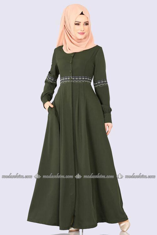 Modaselvim Ferace Pile Detay Nakisli Ferace 9028w153 Haki Kisa Etekli Elbiseler Musluman Modasi Islami Giyim