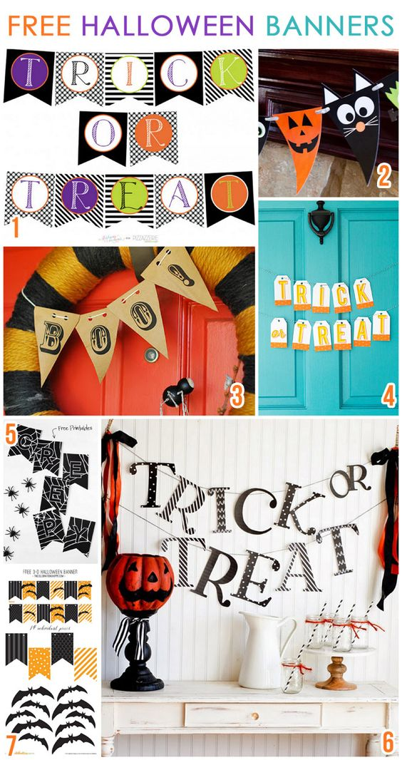 7 CUTE & Free Halloween Printable Banners for decorating your mantel, office, party table, door, etc!: