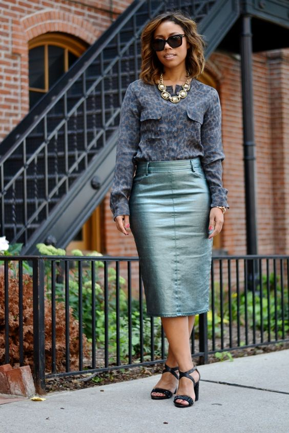 Zara Metallic Skirt, Leopard Print Equipment Silk Blouse, MICHAEL Michael Kors Heels, Sage+Sparkle