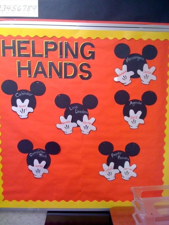 Mickey Mouse classroom jobs. Just move the hands for students to change their daily jobs!