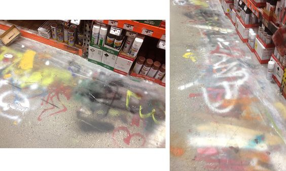 graffiti on the floor at home depot