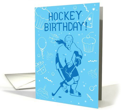 Hockey Birthday! Female Ice Hockey Player Cupcakes Balloons Women's Hockey Greeting Card