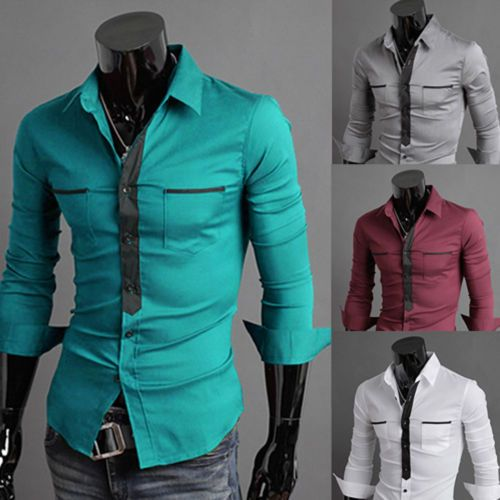 New Mens Stylish Slim Fit Long Sleeve Double Pocket Dress Shirts ...