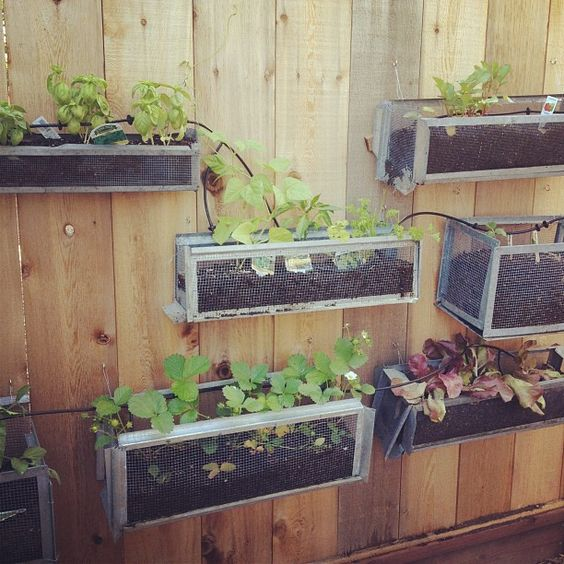 DIY planter boxes made from salvaged galvanized screens by @noteify