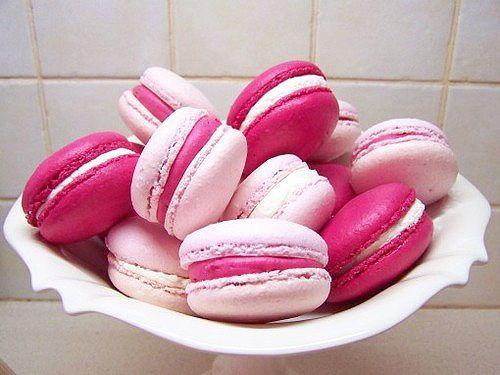 Macarons gostosos em tons de rosa! *-*