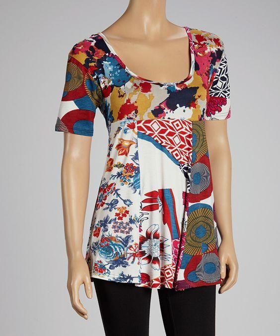 Loving this Fashion Fuse White Patchwork Scoop Neck Tunic - Women on #zulily! #zulilyfinds