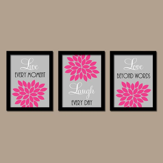 Black and pink canvas wall art wall decor large pink for Pink and grey bathroom decor