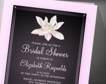 Elegant Pink And Black Bridal Shower Invitation