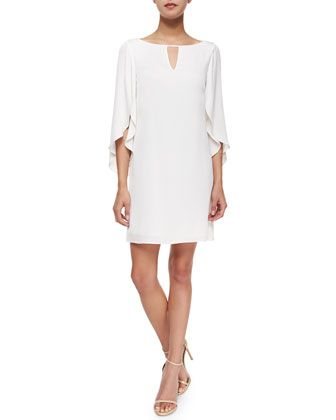 Butterfly-Sleeve Keyhole-Neck Dress by Milly at Bergdorf Goodman.