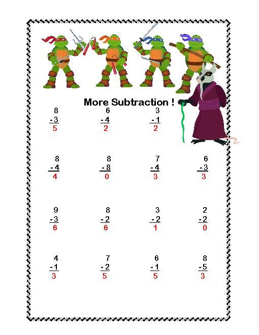 math addition subtraction within 20 worksheets ninja turtles theme. Black Bedroom Furniture Sets. Home Design Ideas