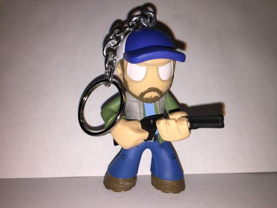 Supernatural Keychain  Bobby Singer  repurposed toys by ErinEtc