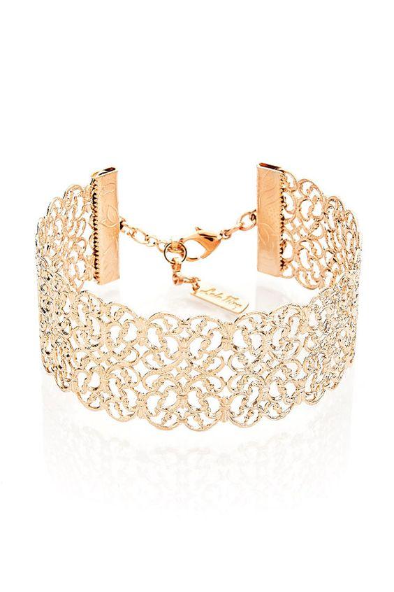 Filigree Bracelet Rose Gold Bracelet Cuff by LuluMayJewelry