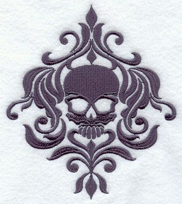 skull damask pattern for embroidery